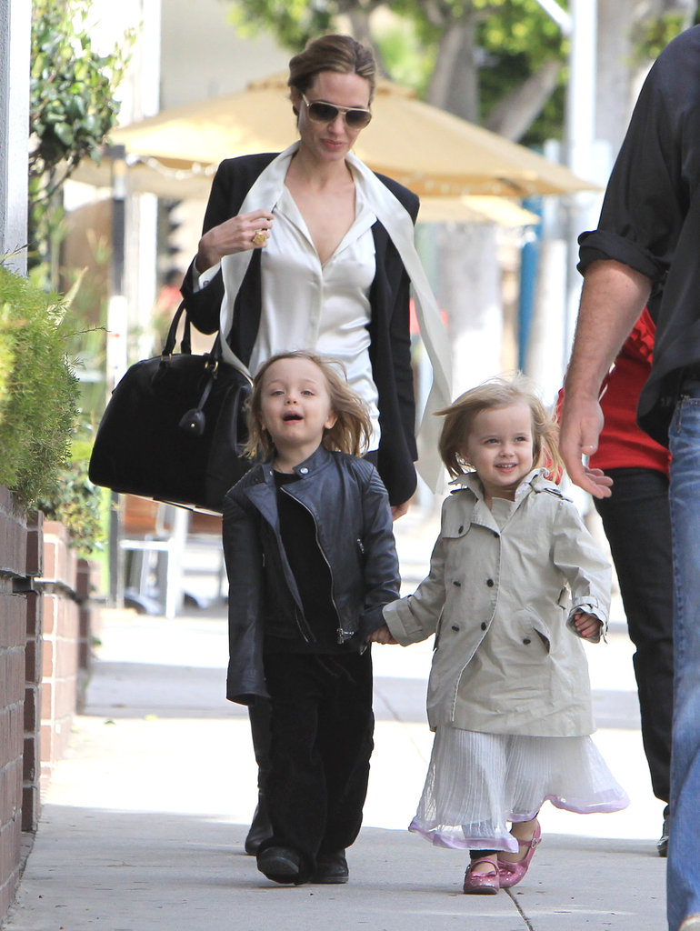 Angelina Jolie shopped in LA with her twins Knox and Vivienne Jolie-Pitt in February.