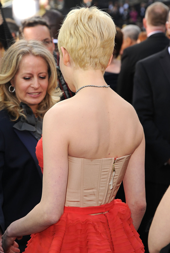Michelle Williams showed off her shoulders in her Oscars gown.