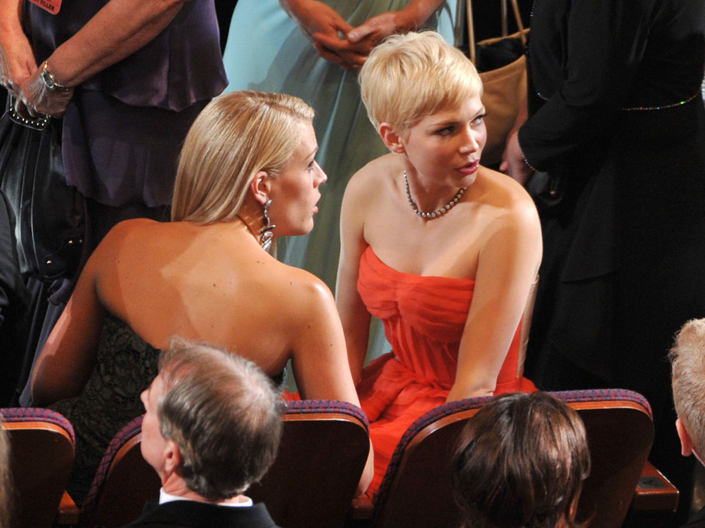 Michelle Williams and Busy Philipps took their seats inside.