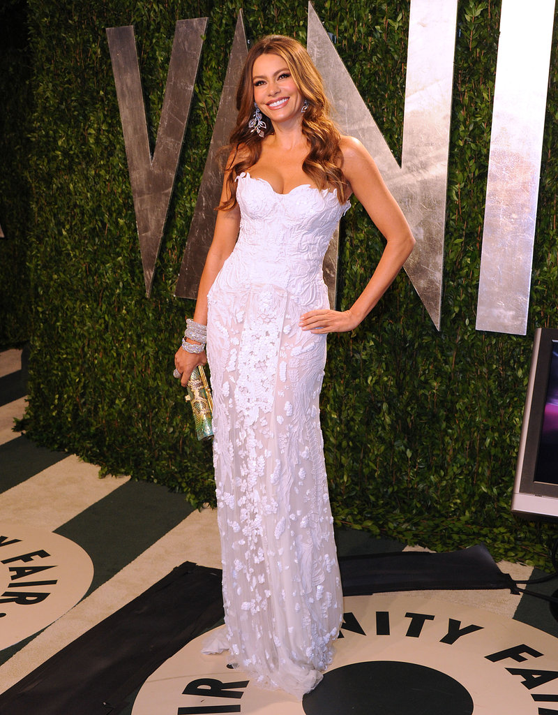 Sofia Vergara's sheer-skirted Roberto Cavalli takes on an almost ethereal feel in white.