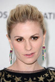 Channel the same standout effect of Anna Paquin's art-deco-inspired jewels with a pair of colored rhinestone drop earrings.  4801523