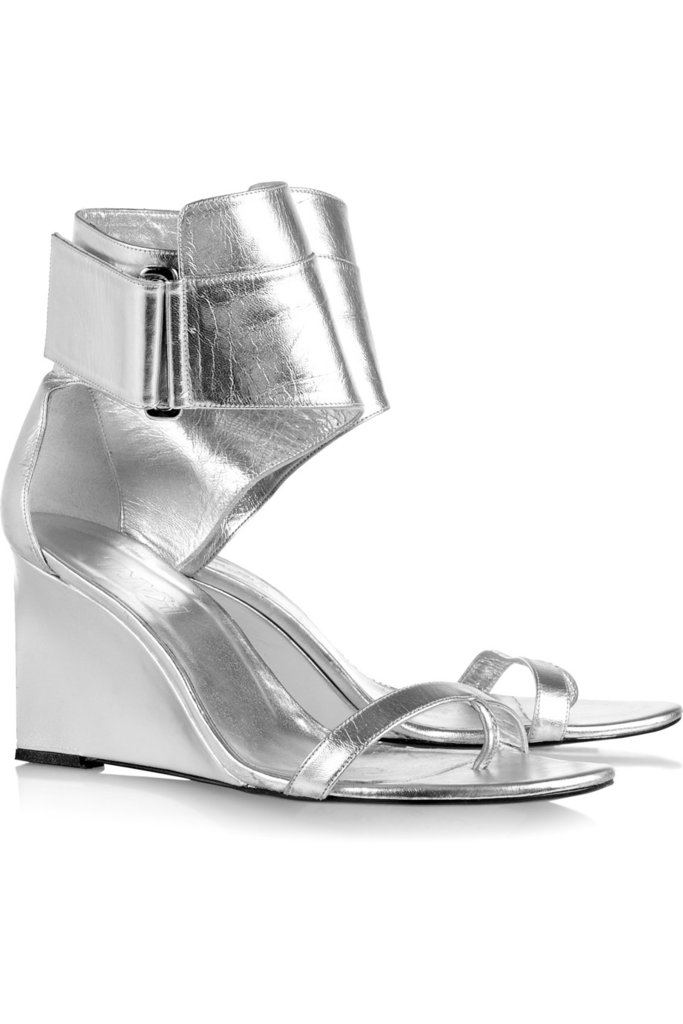 Ever since we previewed the KARL by Karl Lagerfeld collection, we've had our eyes on this pair of metallic wedge sandals. They're chic and Spring-perfect, and their luster effect is on point. KARL Metallic Leather Wedge Sandals ($405)