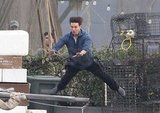 Tom Cruise lept onto a pole while filming in Long Beach in 2010.