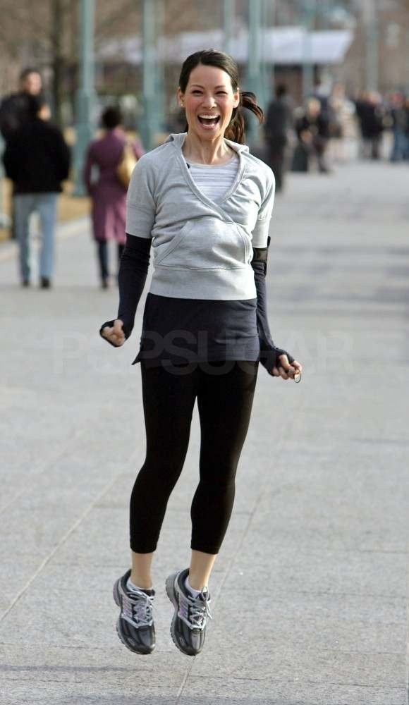 Lucy Liu kicked off her jog with a hop in NYC in 2007.