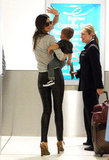 Miranda Kerr and Flynn Bloom Walk, Then Fly, Out of Sydney