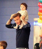 David Beckham took Harper Beckham to her big brother Cruz's 7th birthday party.