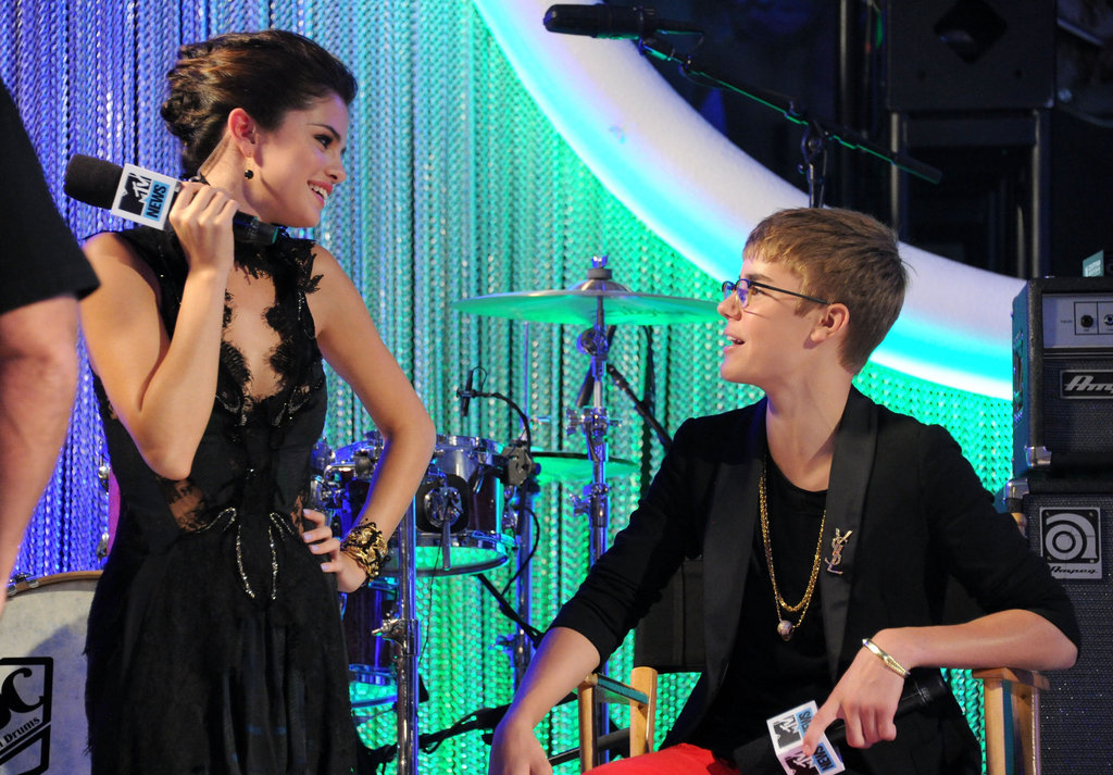 Selena Gomez and Justin Bieber hung out on the red carpet at the MTV Video Music Awards in August 2011.