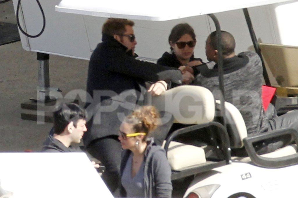 Chris Pine shook hands with the crew.