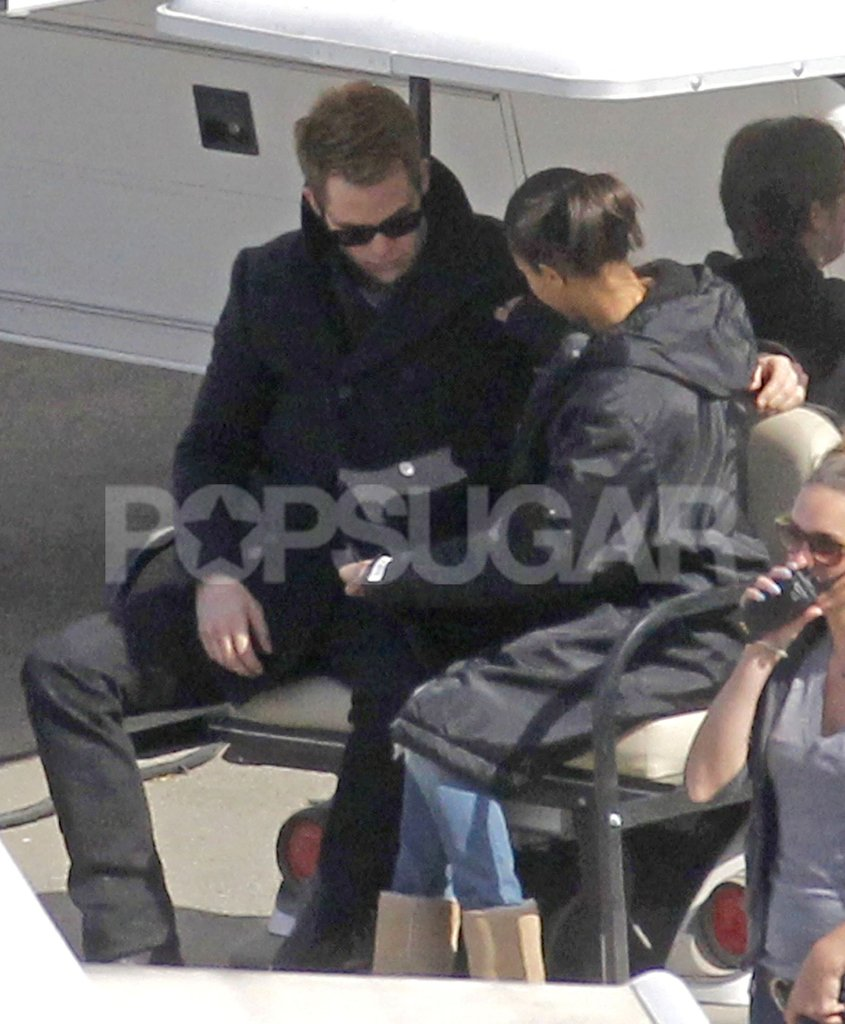 Zoe Saldana got a closer look at Chris Pine's messenger bag.