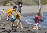 Selena Gomez and Justin Bieber took Justin's siblings to the beach in Malibu in February 2011.