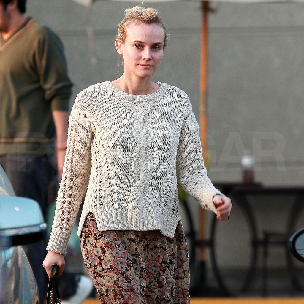 Diane Kruger wore a long floral skirt and a sweater.