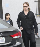 Brad Pitt and Maddox Jolie-Pitt stopped by the Guitar Center in LA in March 2012.