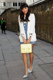 Jameela Jamil played with metallics on her Christian Louboutin pumps.