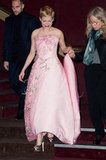 Michelle Williams revealed a pair of Dior metallic peep-toes to match her princess-style Dior gown at the Paris premiere of My Week With Marylin.