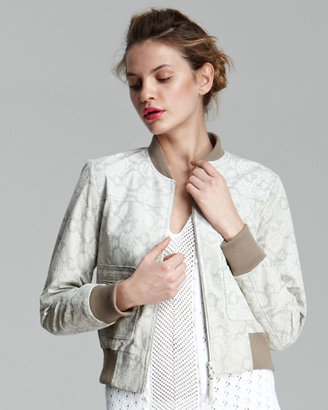 Rebecca Taylor Python-Print Leather Bomber Jacket ($995)