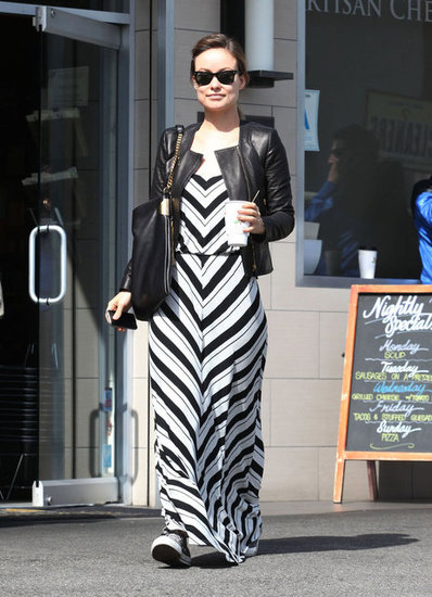 Olivia Wilde gave her Ella Moss maxi a cool-girl twist with Converse kicks and a leather jacket.