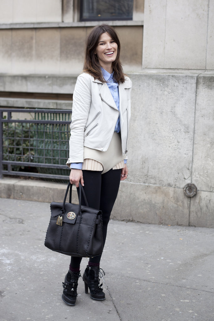 Hanneli Mustaparta never fails to bring her chic A-game, this time in a tailored moto jacket and preppy layers.