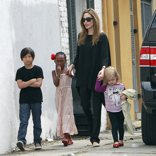 Angelina Jolie Pictures in NOLA With Vivienne, Pax, Zahara