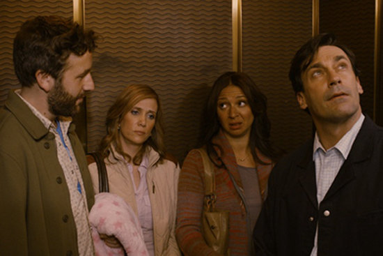 Chris O'Dowd, Kristen Wiig, Maya Rudolph, and John Hamm in Friends With Kids. Photo courtesy of Roadside Attractions