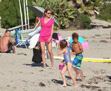 Heidi Klum walked in the sand with Leni Samuel and Henry Samuel.