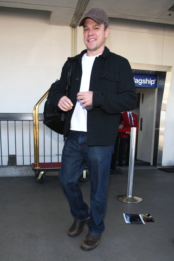 Matt Damon smiled at LAX.