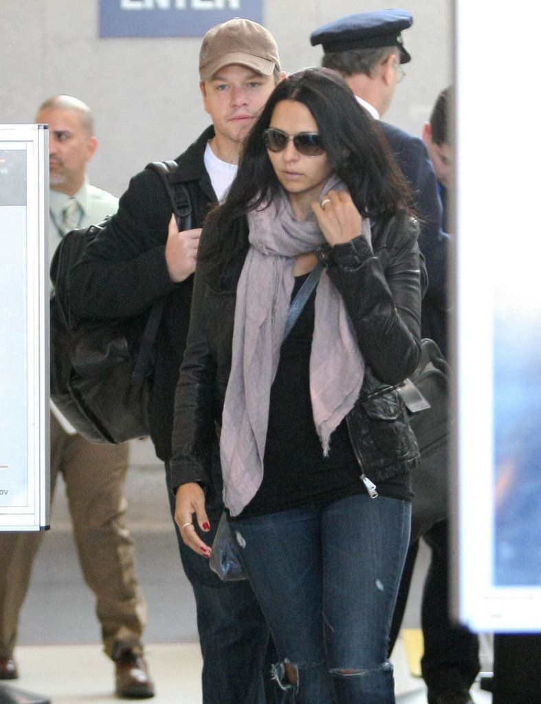 Matt Damon touched down in LA with Luciana Damon.
