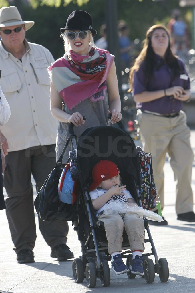 Gwen Stefani with Zuma at Knott's Berry Farm.