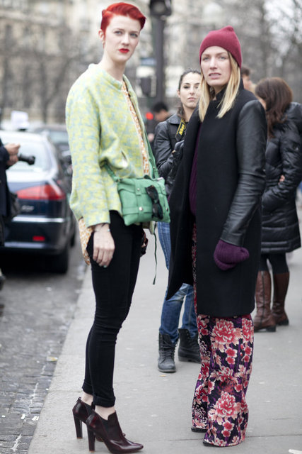 The perfect printed duo; notice how the girl on the right tempered her floral-print palazzo pants with a sleek black coat. Genius.   More J.Crew...