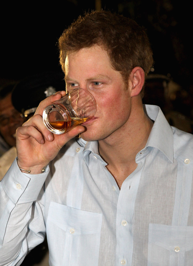 Prince Harry enjoyed a drink.