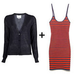 For a sexy spin on sporty, add a sheer-tinged cardigan to a striped body-con mini. Make it work now with tights and ankle boots; later with woven wedges or metallic heels.  3.1 Phillip Lim Side Zip Cardigan ($425), Alexander Wang Engineered Stripe Tank Dress ($425)