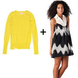 We love how this pairing plays on both bold print and bright color — and how a collared neckline adds just a touch of sweetness.  girl. by Band of Outsiders Lemon Crewneck ($240), L.a.m.b. Oversized Zigzag Mini Dress ($475)
