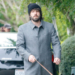 Ben Affleck Walking Dog Pictures After Samuel's Birth