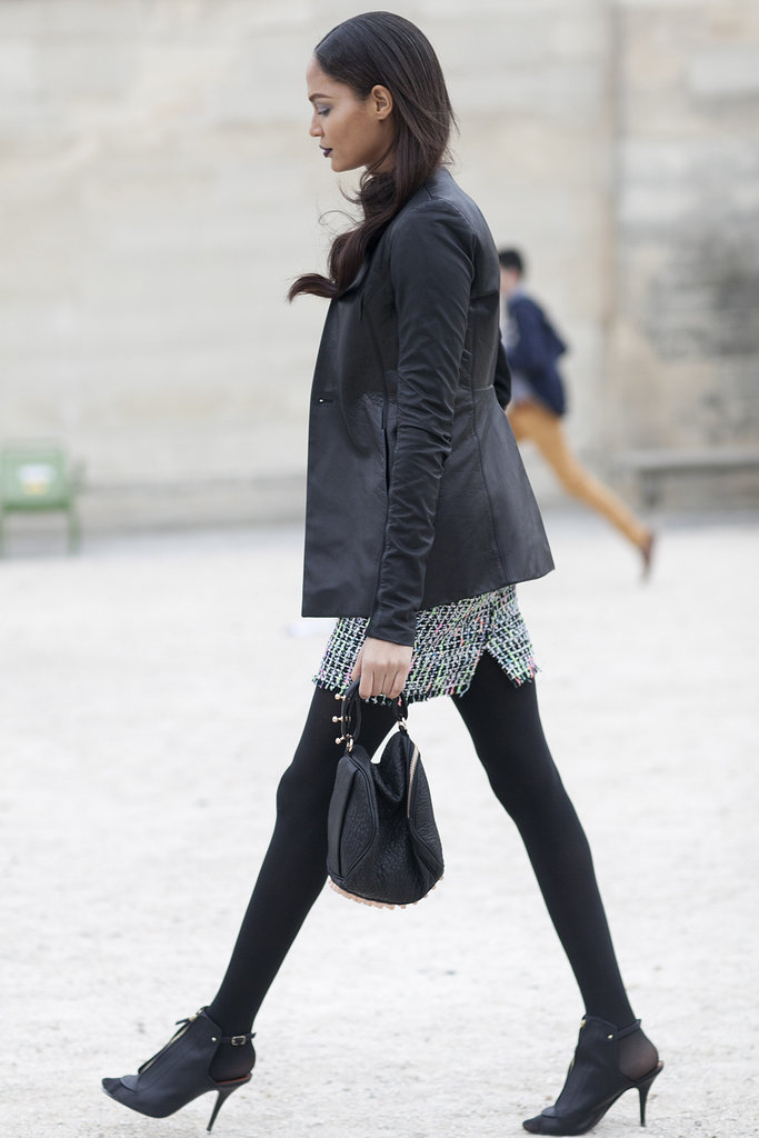 We caught Joan Smalls working the Parisian-chic angle on her way from show to show.