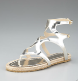 Jimmy Choo Mirrored Flat Gladiator Espadrille ($375)