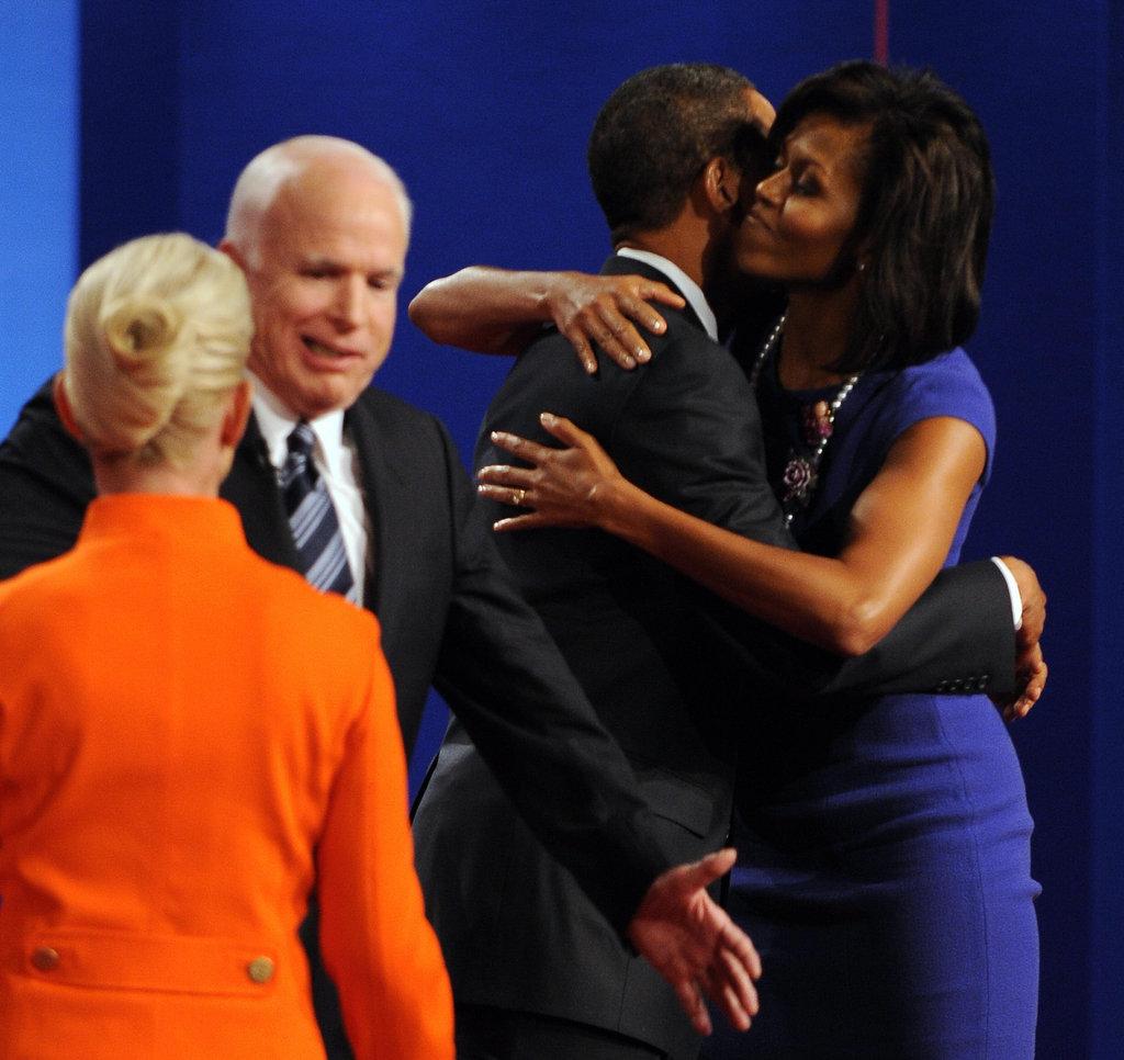 Michelle congratulated Barack after a debate.