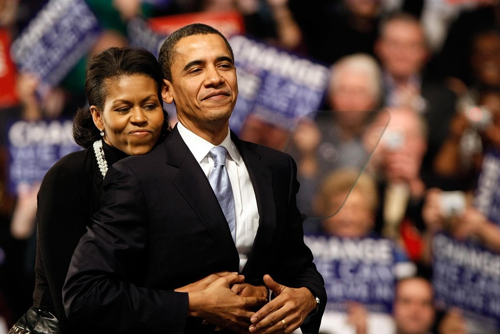 Michelle wrapped her arms around Barack on New Hampshire primary night in 2008.