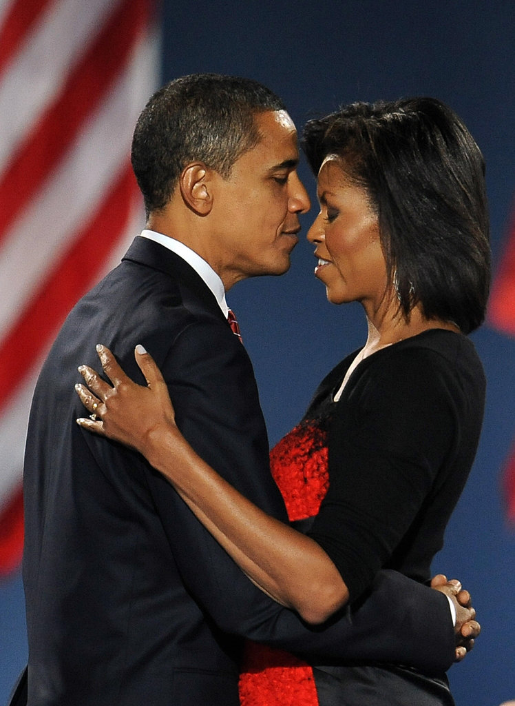 Barack and Michelle look in love after he won the election.