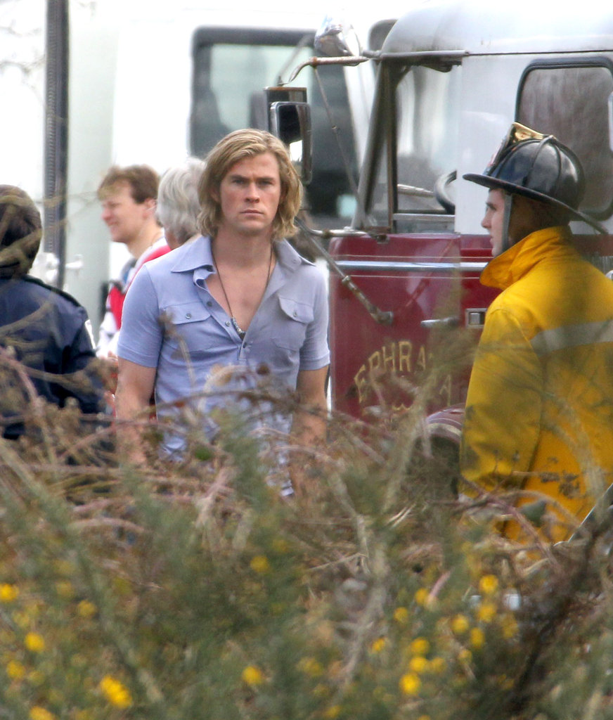 Chris Hemsworth sported blond locks on set.