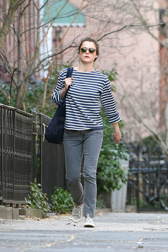Keri Russell walks to her Brooklyn home.