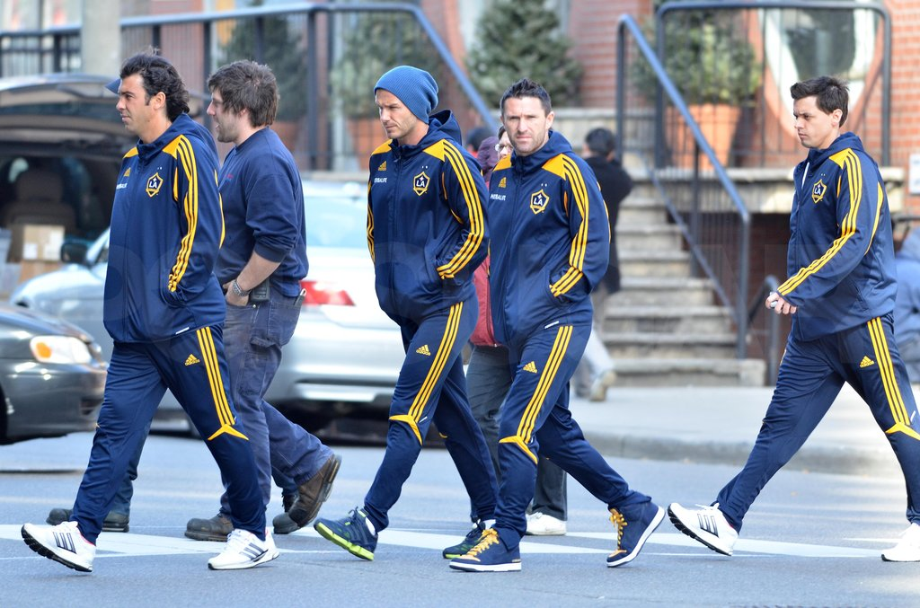 David Beckham walked around Toronto with his teammates.