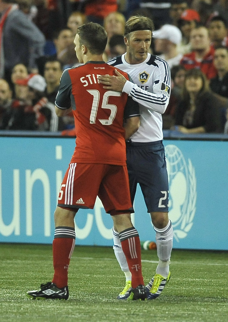 David Beckham greeted an opponent.