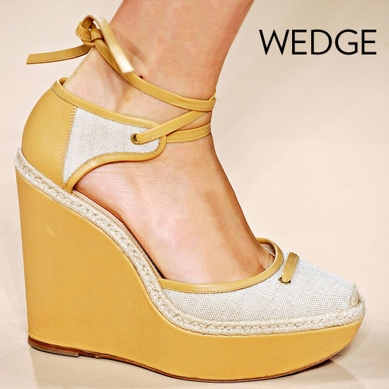 Why we love them: These are a Spring staple. Wedges are leg-lengthening and easy to walk in, and you can count on fresh styles every season.  How to wear them: Show off your stems in a miniskirt or dress, add them to ankle-crop pants, or wear them with flowy maxi silhouettes for that quintessential Spring vibe.  Photo: Max Mara Spring 2012