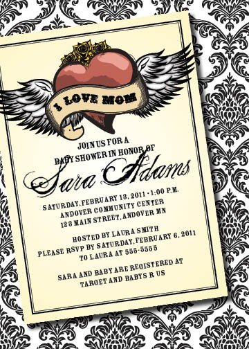 DIY Printable Tattoo-Inspired Baby Shower Invitation ($12.50)