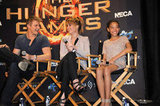 Jennifer Lawrence, Amandla Stenberg, and Alexander Ludwig sat in directors chairs.