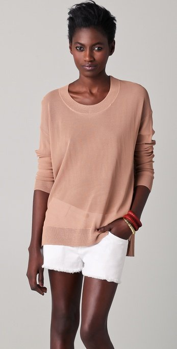 This has Spring essential written all over it in the subtlest neutral hue.  DKNY Scoop Neck Pullover ($245)