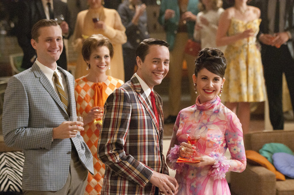 Vincent Kartheiser as Pete Campbell, Alison Brie as Trudy Campbell,  and Aaron Stanton as Ken Cosgrove in the season five premiere of Mad Men.  Photo courtesy of AMC
