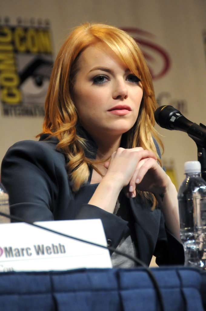 Emma Stone with light hair at WonderCon.