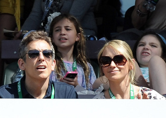 Ben Stiller and Christine Taylor watched tennis in Indian Wells.