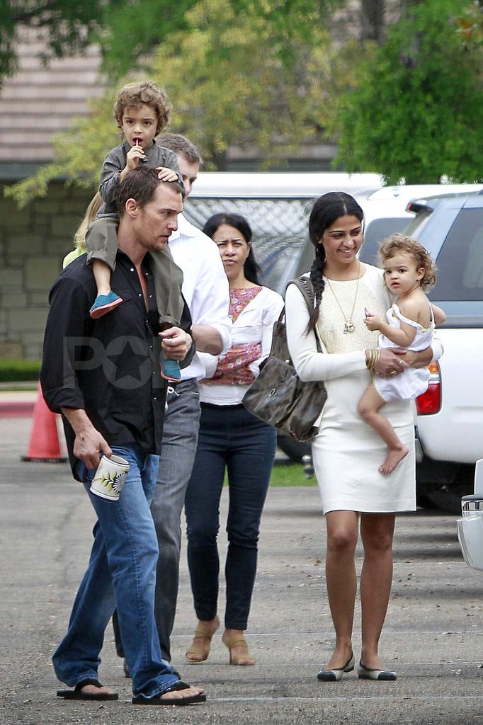 Matthew McConaughey and Camila Alves leave church with Levi and Vida.