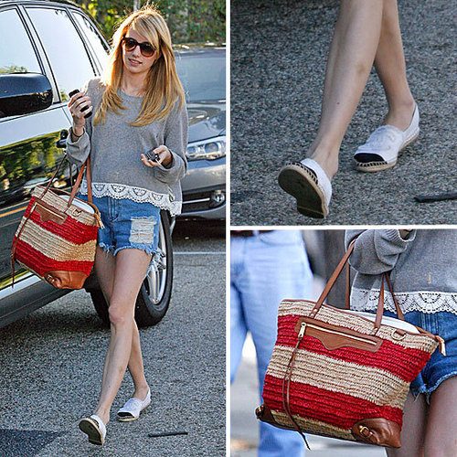Emma Roberts in Denim Cutoffs